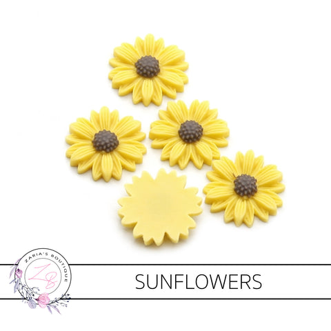 Sunflowers ~ Flatback Resin Bow Embellishments ~ 5 pieces