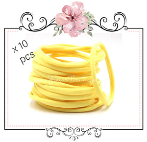 SALE 10 Nylon Headbands ~ Yellow ~ Fits Babies & Children