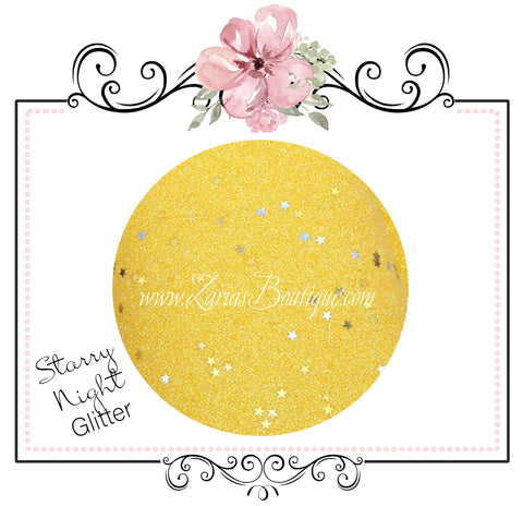 Starry Night Collection Fine Glitter ~ Yellow ~ Silver & Gold Star Encrusted Christmas Craft Sheets