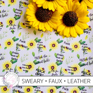 AVAILABLE 7.30PM WEDNESDAY Exclusive Sweary F Bomb Yellow Sunflower Floral Vegan Faux Leather ~ Larger Print
