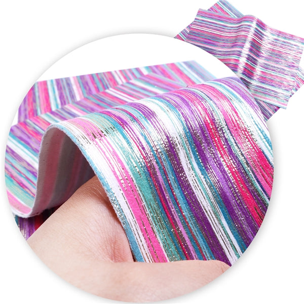 Rainbow Stripes ~ Pink Blue Purple Aqua Silver White & Teal