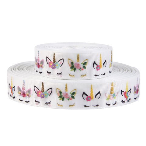 "Sleepy Unicorn Grosgrain Ribbon | 7/8"" ~ 22mm"