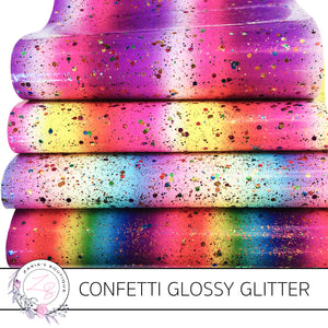 Confetti Glossy Glitter ~ Multi-Colour Rainbow Stripes ~ 4 Colours