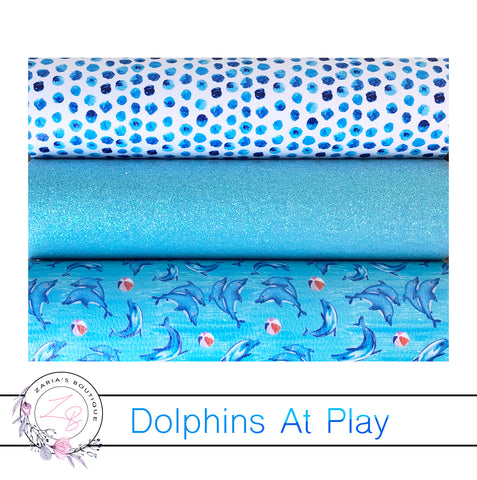 Dolphins At Play ~ Designer Multi Pack Faux Leathers ~ 3 Full Sheets