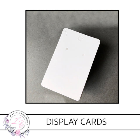 Earring/ Pendant/ Necklace Display Cards • 9.5 X 6cm • White • packs of 10/25 cards