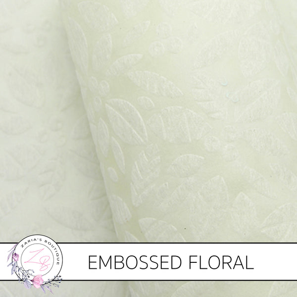 Embossed Flowers • Ivory • Thin Floral Craft Fabric
