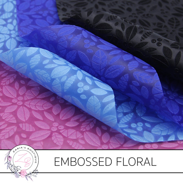 Embossed Flowers • Black • Thin Floral Craft Fabric