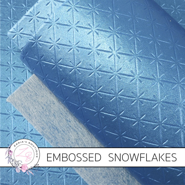 Snowflake Collection ~ Blue Embossed Snowflakes Faux Leather Fabric Sheets
