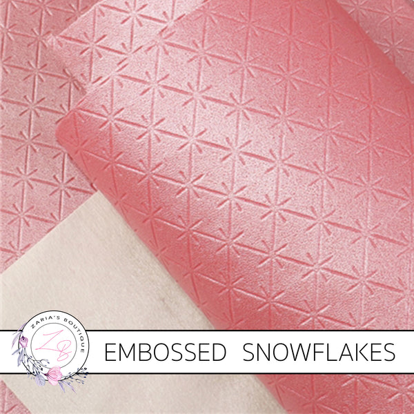 Snowflake Collection ~ Pink Embossed Snowflakes Faux Leather Fabric Sheets