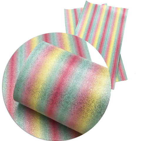 Rainbow Pastel Glitter Stripes