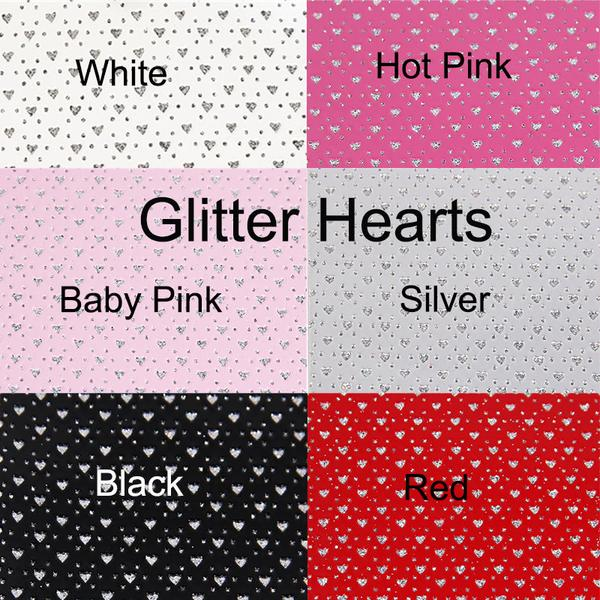 Hot Pink PATENT Faux Leather GLITTER Hearts ~ 6 colours!
