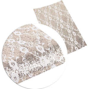 Champagne Gold Lace ~ Faux Leather Craft Sheets