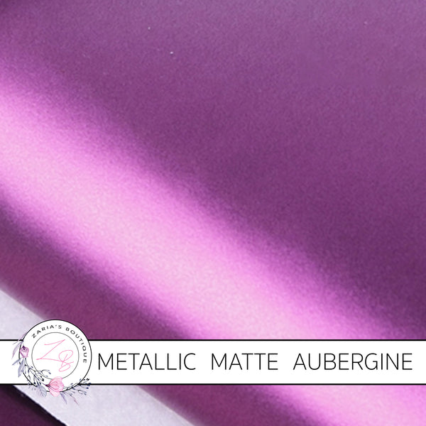 Metallic Matte ~ Faux Leather Leatherette ~ Aubergine Purple ~ 0.74mm