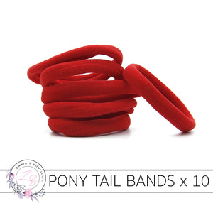 10 Nylon Ponytail Hair Bands ~ Red