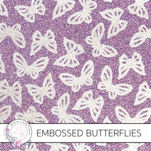 Embossed Silver & Purple Butterfly Glitter