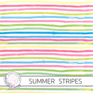 Summer Stripes ~ Floral Faux Leather ~ 1mm