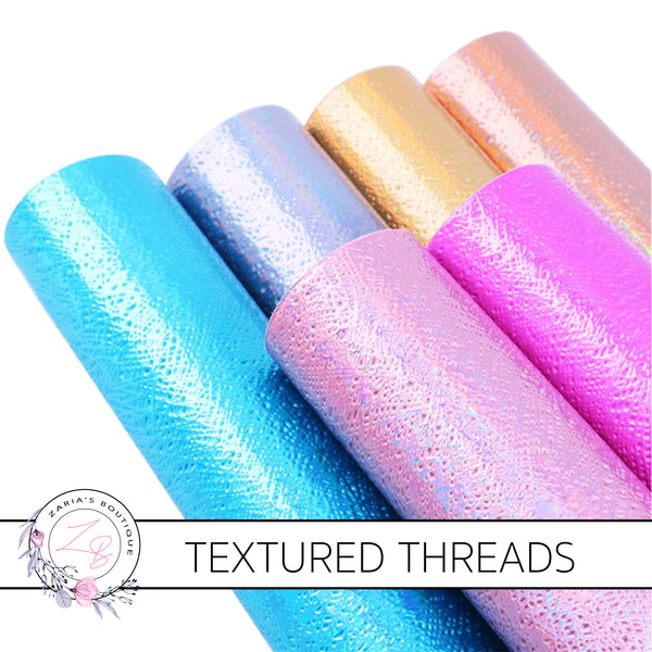 Textured Threads Holo Faux Leather Leatherette ~ Blue ~ 0.86mm
