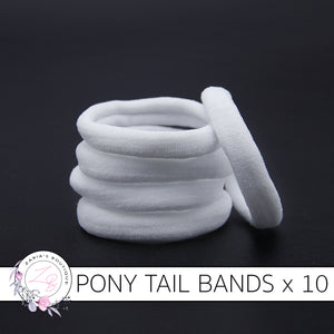 10 Nylon Ponytail Hair Bands ~ White