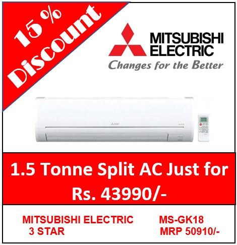 MITSUBISHI ELECTRIC 1.5 TON 3 STAR SPLIT AC MS-GK18VA