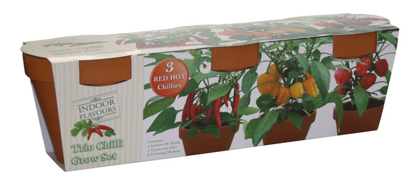 Terracotta Chili Trio Grow Set, Thai Cayenne, Habanero Chili, Naga Bhut Jolokia ChiliRed Hot Chili Kit, Chilli Plants, Red Hot Chilli Kit, Chilli Plants, GIY, GYO, Allotment growing, Grow your own food, kitchen gardening, Chili Seeds