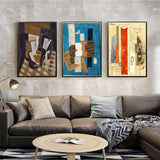 Abstract Picasso Violin and Guitar Cafe Bar Wall Art in Canvas
