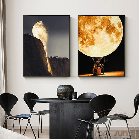 Abstract Melting Moonlight Canvas Painting Orange Moon