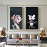 Larger Size Nordic Poster Canvas Print Flowers Butterfly Woman