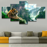 5 Panel Tiger And Mountain Waterfall Home Decoration Framework