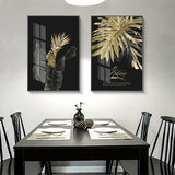 Abstract Golden Leaf Plant Wall Art Canvas for Living Room