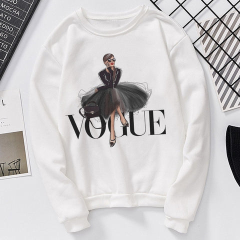 Long Sleeve Casual Sweatshirt Printing VOGUE