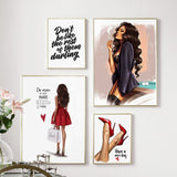 Red High Heels Vogue Girl Wall Art Print Canvas  For Living Room Decor