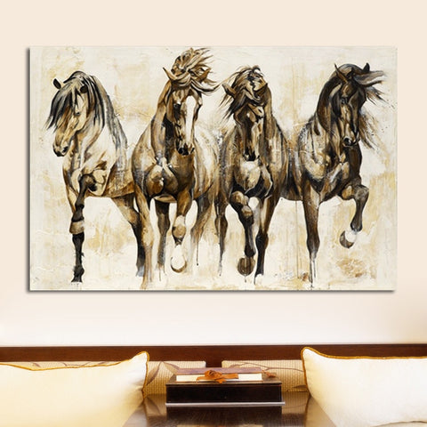 Retro Brown Horse Dance Canvas Art Animal