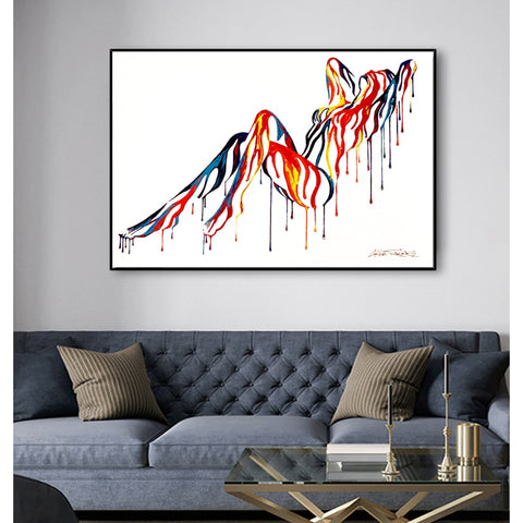 Sexy Nude Body Colorful Canvas Painting Wall Art