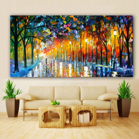 Walling In Rain Light Road Oil Painting Wall Art