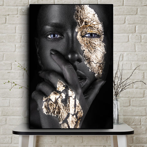 African Art Black and Gold Woman on Canvas Prints Wall Art