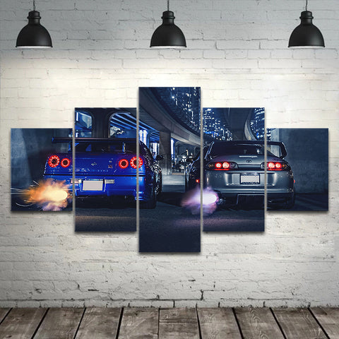5 piece GTR R34 VS Supra vehicle home decor