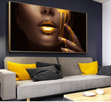 Women Face With Golden Liquid Large Wall Art Canvas Paintings