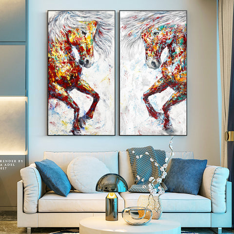 Modern Graffiti Horses Art Canvas Paintings On The Wall