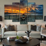 5 panels Wave Of The Sea Beach Sunset Seascape