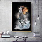 Horse Running In Water Wall art For Living Room