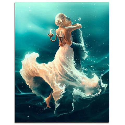 Sea Dancing Lover DIY painting by numbers,wall art 40x50CM
