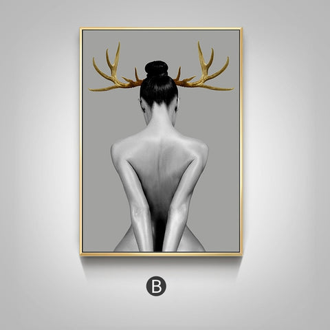 Nordic Antlers girls Figuars wall art Canvas Morden Decor
