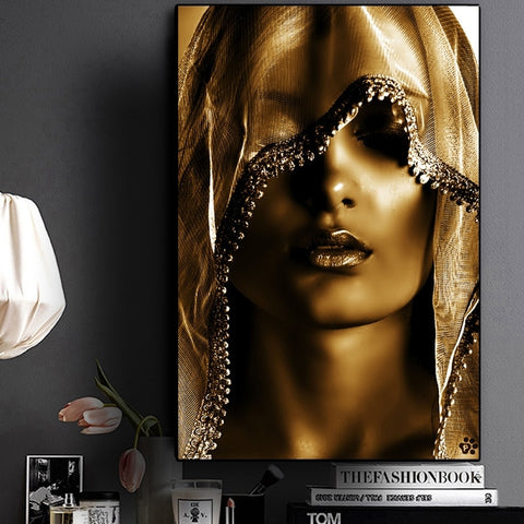 Golden Makeup Women Nordic Style Canvas Print