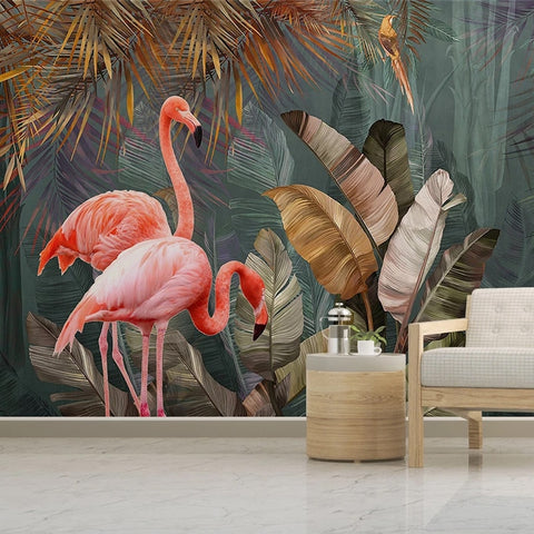 Tropical Plant Forest Banana Leaf Flamingo  For Living Room Bedroom
