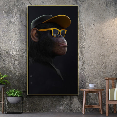 Funny Thinking Monkey with Headphone for Living Room Decor