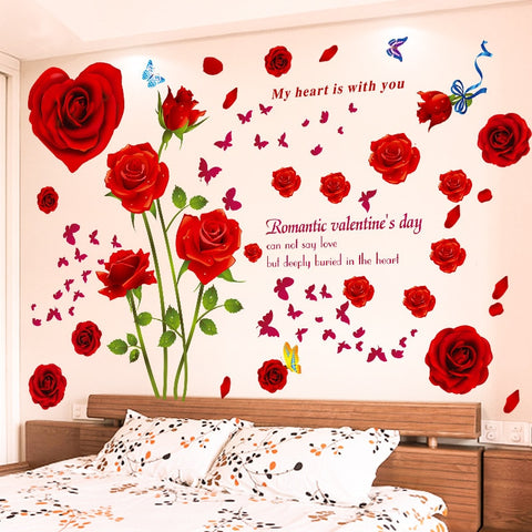 Red Rose Flowers Wall Sticker Home Decor Romantic