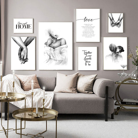 Black White Shoulder Kiss Hand Wall Art Canvas