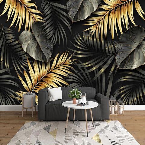 Nordic Hand-painted Tropical Plant Leaf Lines Luxury Home Decor