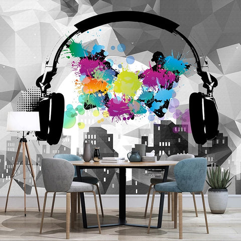 Walls Headset Music Fashion Graffiti Art Background Wall Mural 3D