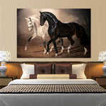 Black and White Horse On The Wall Canvas
